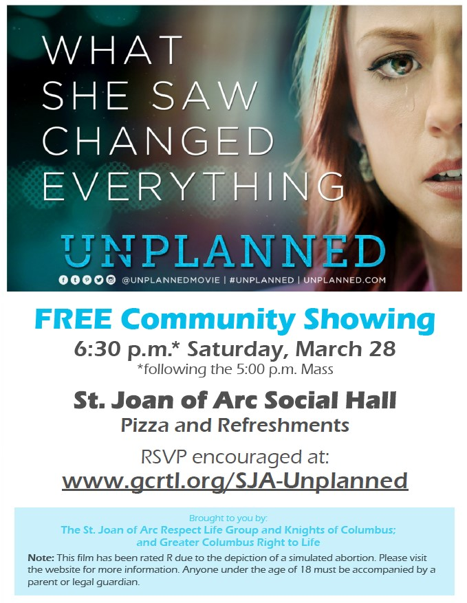 FREE Community Showing of Unplanned, Saturday, March 28th at 6:30 p.m.